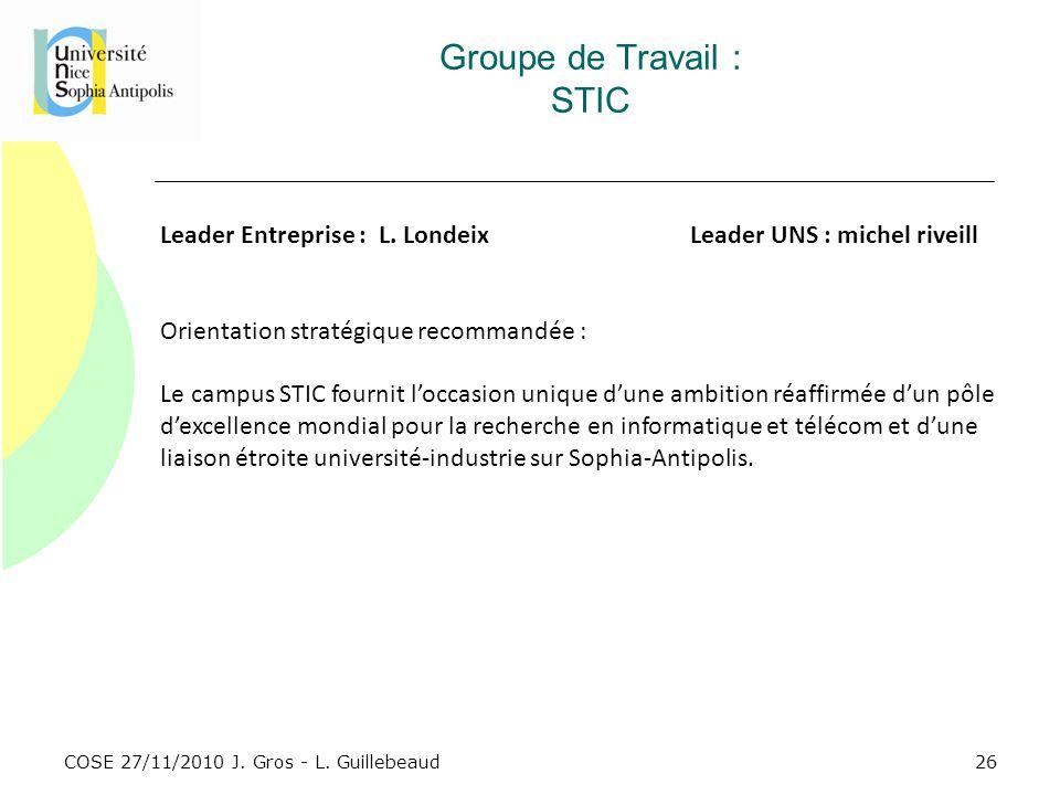 COSE 27/11/2010 J. Gros - L. Guillebeaud Groupe de Travail : STIC Leader Entreprise : L. LondeixLeader UNS : michel riveill Orientation stratégique re