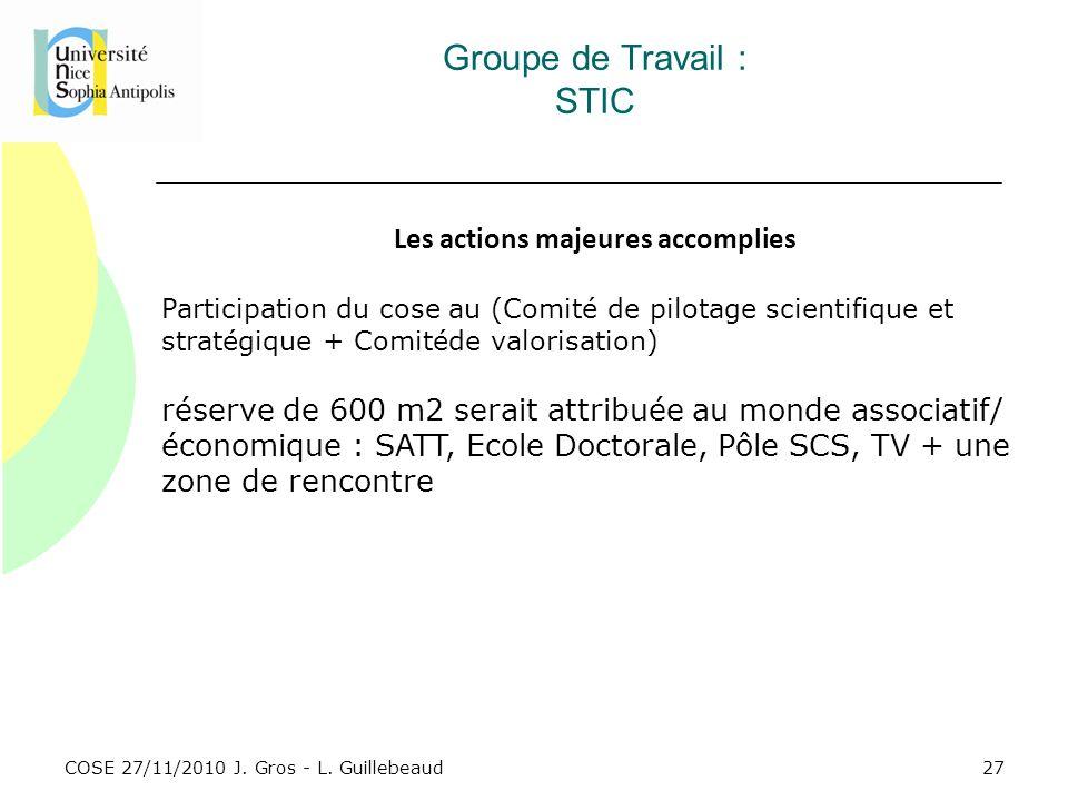 COSE 27/11/2010 J. Gros - L. Guillebeaud Groupe de Travail : STIC Les actions majeures accomplies Participation du cose au (Comité de pilotage scienti