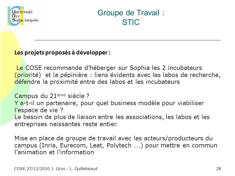 COSE 27/11/2010 J. Gros - L. Guillebeaud Groupe de Travail : STIC Les projets proposés à développer : Le COSE recommande dhéberger sur Sophia les 2 in