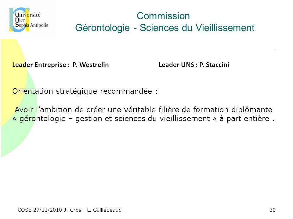 COSE 27/11/2010 J. Gros - L. Guillebeaud Commission Gérontologie - Sciences du Vieillissement Leader Entreprise : P. WestrelinLeader UNS : P. Staccini