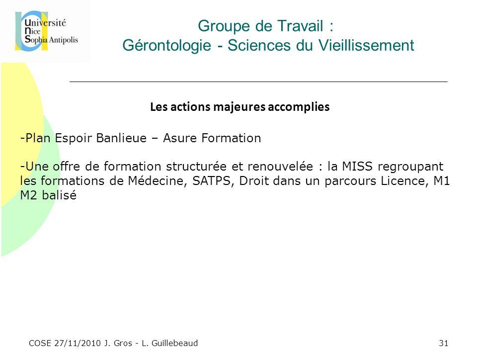 COSE 27/11/2010 J. Gros - L. Guillebeaud Groupe de Travail : Gérontologie - Sciences du Vieillissement Les actions majeures accomplies -Plan Espoir Ba
