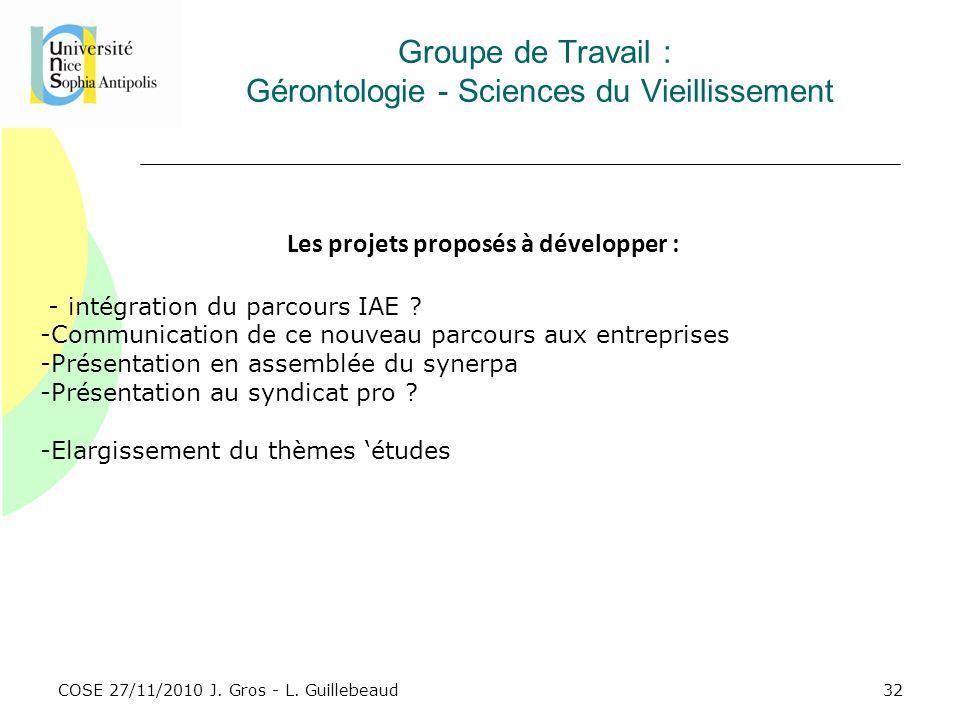 COSE 27/11/2010 J. Gros - L. Guillebeaud Groupe de Travail : Gérontologie - Sciences du Vieillissement Les projets proposés à développer : - intégrati