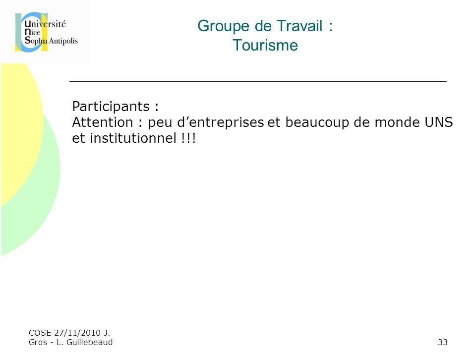 COSE 27/11/2010 J. Gros - L. Guillebeaud Groupe de Travail : Tourisme Participants : Attention : peu dentreprises et beaucoup de monde UNS et institut