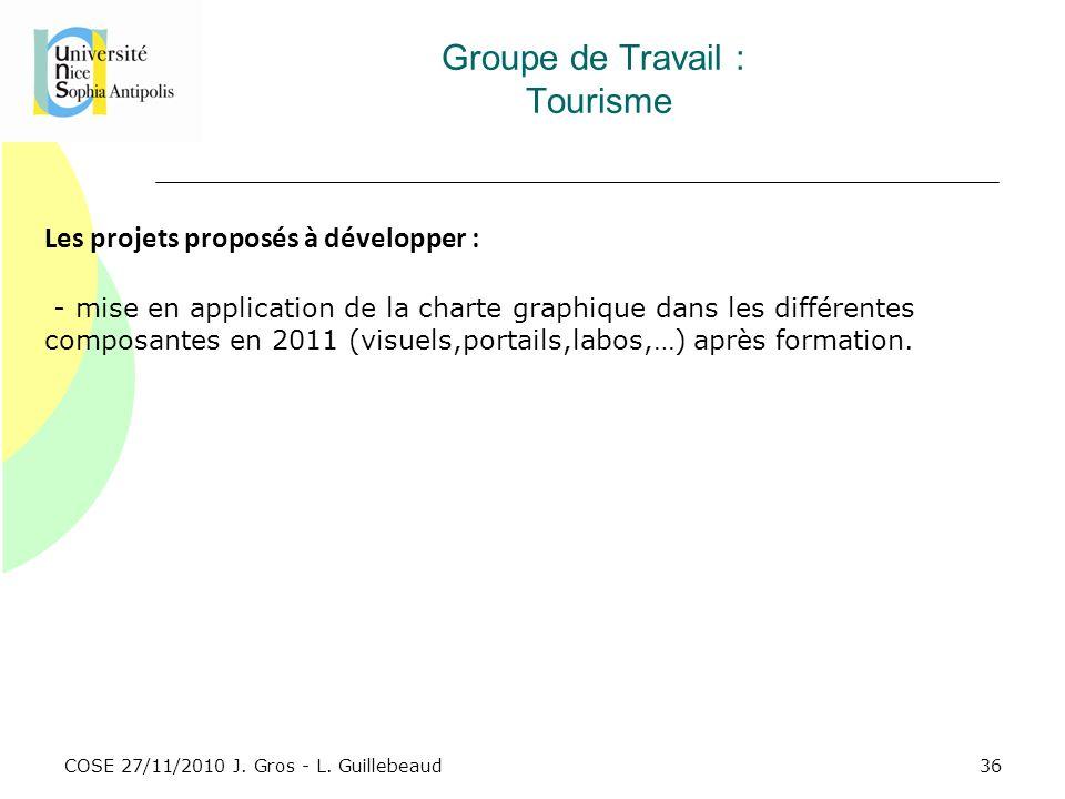 COSE 27/11/2010 J. Gros - L. Guillebeaud Groupe de Travail : Tourisme Les projets proposés à développer : - mise en application de la charte graphique