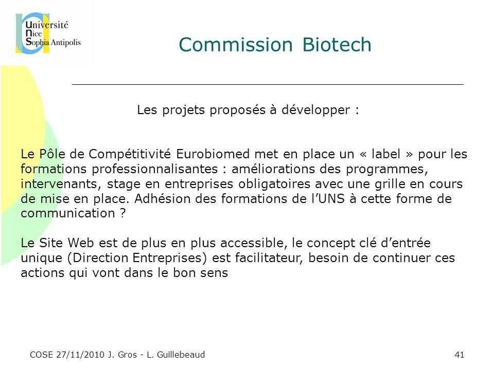 COSE 27/11/2010 J. Gros - L. Guillebeaud Commission Biotech Les projets proposés à développer : Le Pôle de Compétitivité Eurobiomed met en place un «