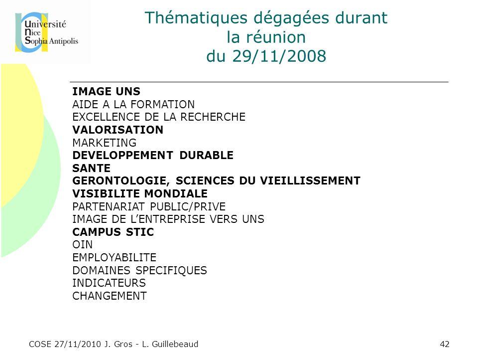 COSE 27/11/2010 J. Gros - L. Guillebeaud Thématiques dégagées durant la réunion du 29/11/2008 IMAGE UNS AIDE A LA FORMATION EXCELLENCE DE LA RECHERCHE