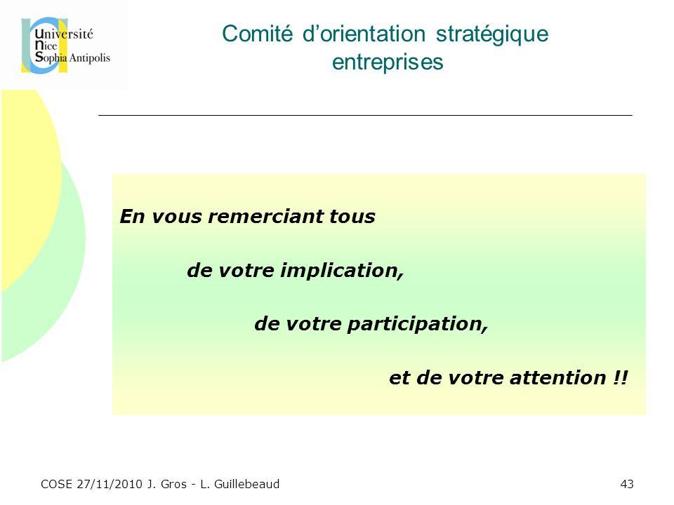 COSE 27/11/2010 J. Gros - L. Guillebeaud Comité dorientation stratégique entreprises En vous remerciant tous de votre implication, de votre participat