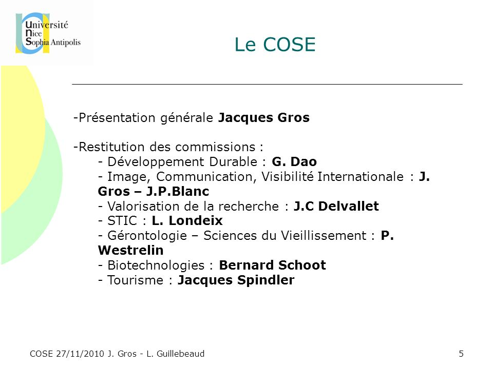 COSE 27/11/2010 J. Gros - L. Guillebeaud Le COSE -Présentation générale Jacques Gros -Restitution des commissions : - Développement Durable : G. Dao -