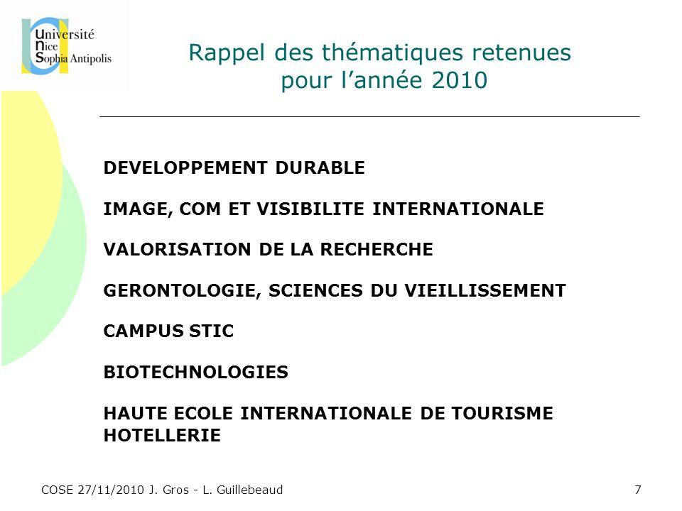 COSE 27/11/2010 J. Gros - L. Guillebeaud Rappel des thématiques retenues pour lannée 2010 DEVELOPPEMENT DURABLE IMAGE, COM ET VISIBILITE INTERNATIONAL