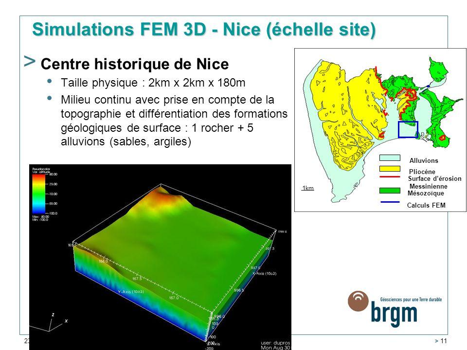 23 novembre 2006 > 11 > Centre historique de Nice Taille physique : 2km x 2km x 180m Milieu continu avec prise en compte de la topographie et différentiation des formations géologiques de surface : 1 rocher + 5 alluvions (sables, argiles) Mésozoïque Pliocène Alluvions 1km Surface dérosion Messinienne Calculs FEM Simulations FEM 3D - Nice (échelle site)