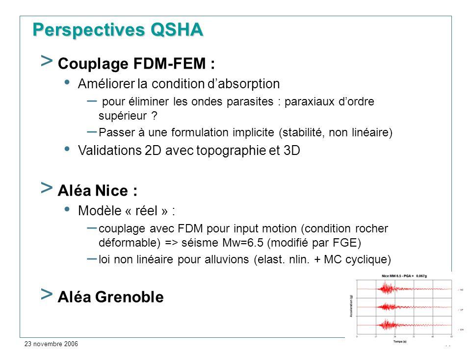 23 novembre 2006 > 14 > Couplage FDM-FEM : Améliorer la condition dabsorption – pour éliminer les ondes parasites : paraxiaux dordre supérieur ? – Pas
