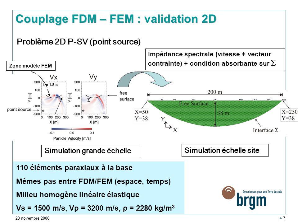 23 novembre 2006 > 7 Problème 2D P-SV (point source) Simulation grande échelle Simulation échelle site 110 éléments paraxiaux à la base Mêmes pas entre FDM/FEM (espace, temps) Milieu homogène linéaire élastique Vs = 1500 m/s, Vp = 3200 m/s, ρ = 2280 kg/m 3 Zone modèle FEM Couplage FDM – FEM :alidation 2D Couplage FDM – FEM : validation 2D Impédance spectrale (vitesse + vecteur contrainte) + condition absorbante sur