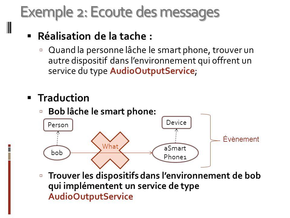 Réalisation de la tache : Quand la personne lâche le smart phone, trouver un autre dispositif dans lenvironnement qui offrent un service du type Audio