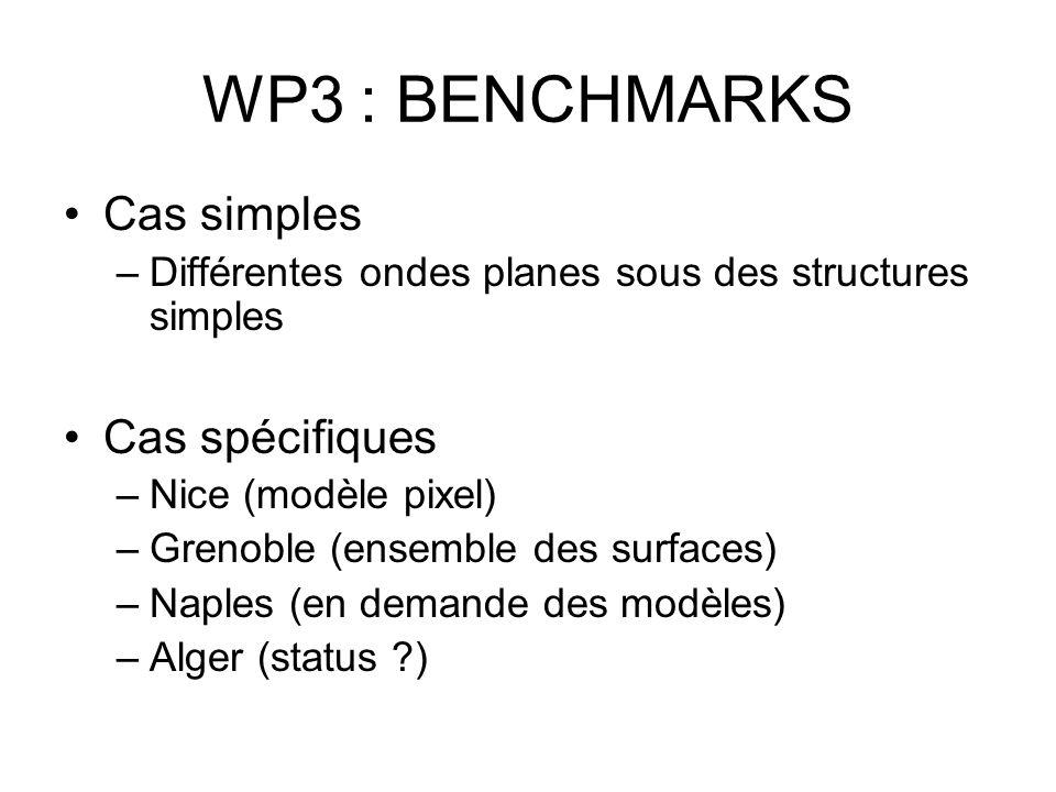 Les Benchmarks Pour Géosciences Azur et ses partenaires (INRIA/Nachos), deux méthodes proposées –Méthode Volumes finis à flux centrés –Méthode Différences finies « à la Saenger » Ce sont des méthodes de faible interpolation spatiale (ordre ½ pour VF et ordre 2 pour DF)