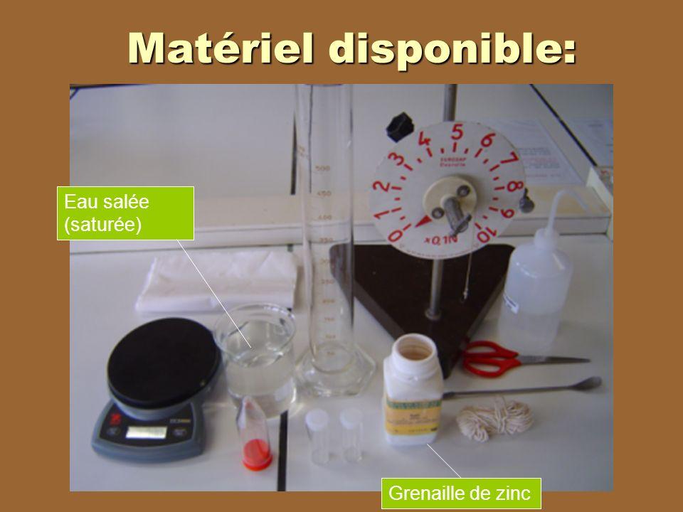 Matériel disponible: Grenaille de zinc Eau salée (saturée)
