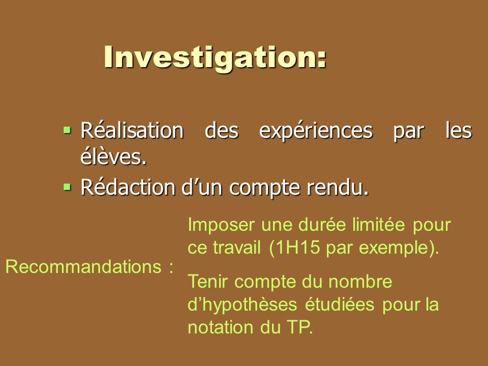 Investigation: Réalisation des expériences par les élèves. Réalisation des expériences par les élèves. Rédaction dun compte rendu. Rédaction dun compt