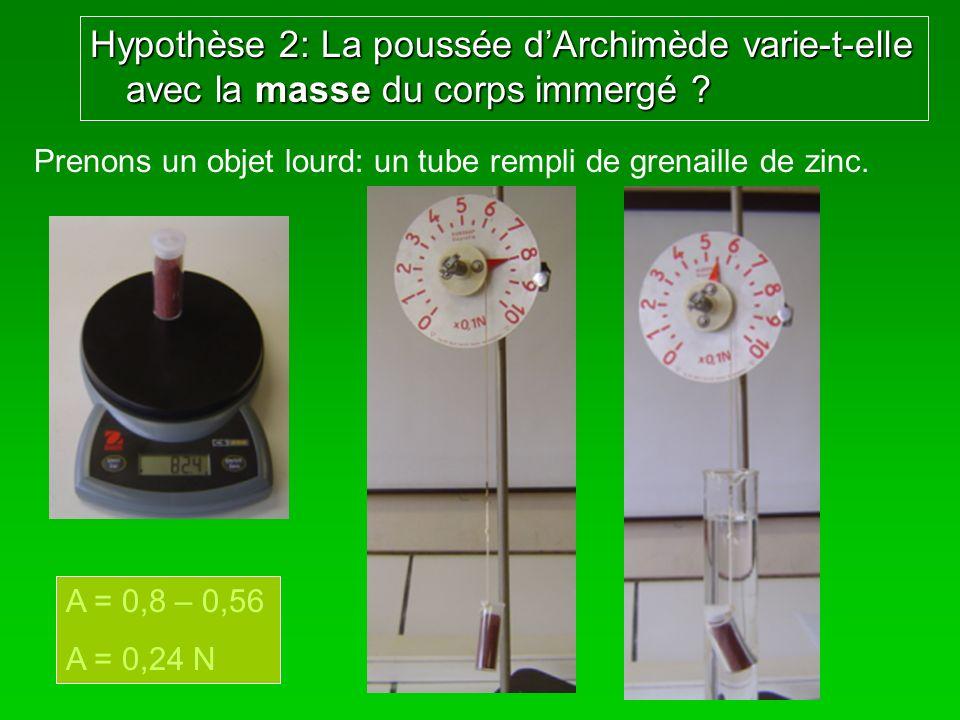 Hypothèse 2: La poussée dArchimède varie-t-elle avec la masse du corps immergé ? Prenons un objet lourd: un tube rempli de grenaille de zinc. A = 0,8
