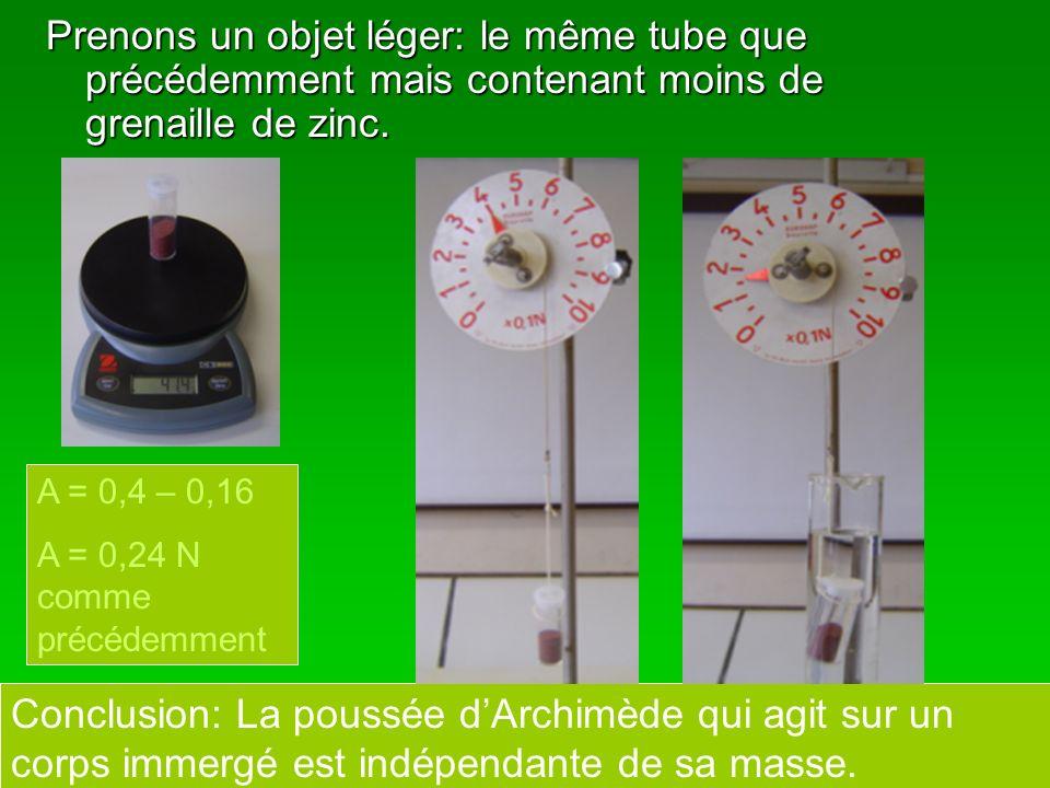 Prenons un objet léger: le même tube que précédemment mais contenant moins de grenaille de zinc. A = 0,4 – 0,16 A = 0,24 N comme précédemment Conclusi