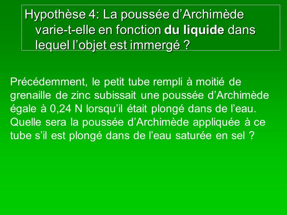 Hypothèse 4: La poussée dArchimède varie-t-elle en fonction du liquide dans lequel lobjet est immergé ? Précédemment, le petit tube rempli à moitié de