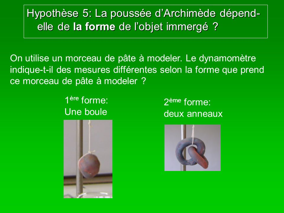 Hypothèse 5: La poussée dArchimède dépend- elle de la forme de lobjet immergé ? On utilise un morceau de pâte à modeler. Le dynamomètre indique-t-il d