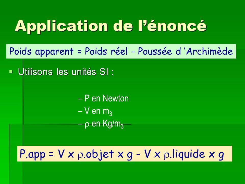 Application de lénoncé Utilisons les unités SI : Utilisons les unités SI : – P en Newton – V en m 3 – en Kg/m 3 P.app = V x.objet x g - V x.liquide x