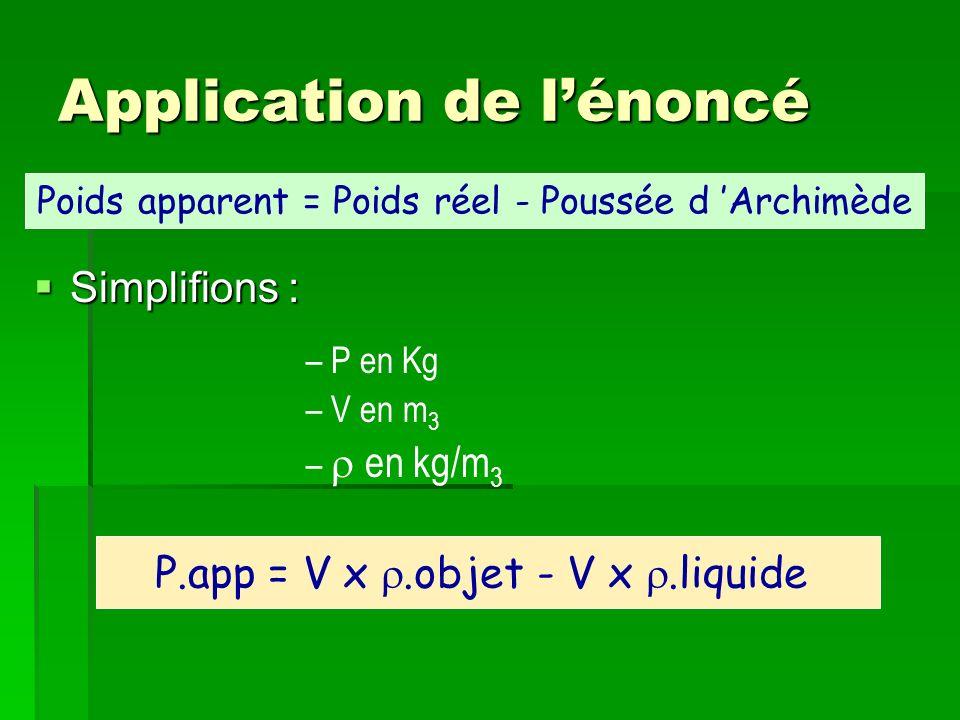 Application de lénoncé Simplifions : Simplifions : – P en Kg – V en m 3 – en kg/m 3 Poids apparent = Poids réel - Poussée d Archimède P.app = V x.obje