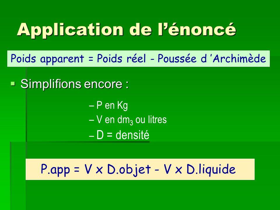 Application de lénoncé Simplifions encore : Simplifions encore : – P en Kg – V en dm 3 ou litres – D = densité Poids apparent = Poids réel - Poussée d