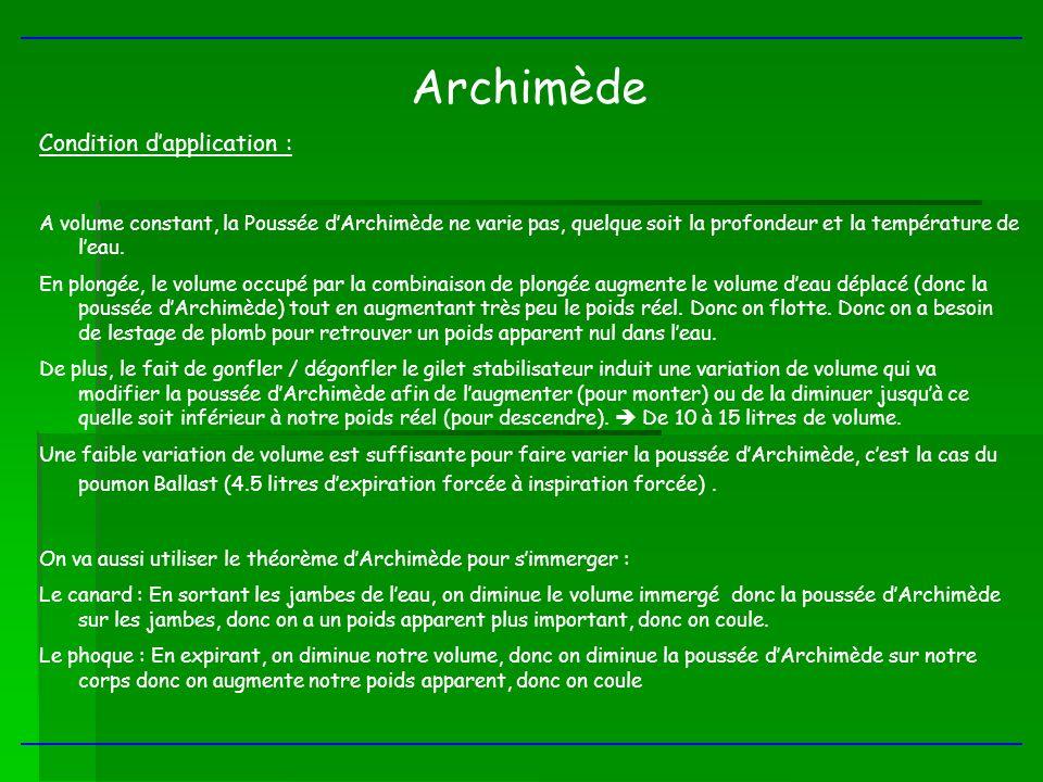 Archimède Condition dapplication : A volume constant, la Poussée dArchimède ne varie pas, quelque soit la profondeur et la température de leau. En plo
