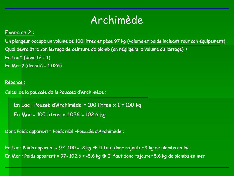 Archimède Exercice 2 : Un plongeur occupe un volume de 100 litres et pèse 97 kg (volume et poids incluant tout son équipement), Quel devra être son le