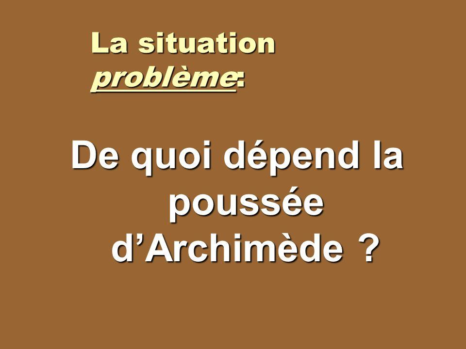 La situation problème: De quoi dépend la poussée dArchimède ?