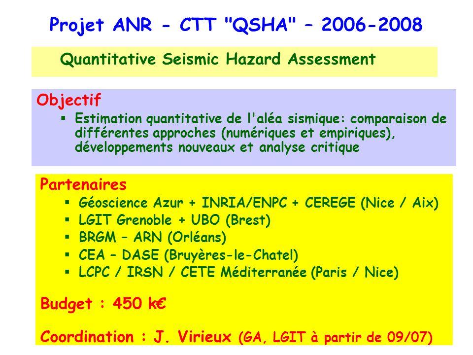 Réunion QSHA S3, Nice, 01/06/2007 Projet ANR - CTT QSHA – 2006-2008 Quantitative Seismic Hazard Assessment Partenaires Géoscience Azur + INRIA/ENPC + CEREGE (Nice / Aix) LGIT Grenoble + UBO (Brest) BRGM – ARN (Orléans) CEA – DASE (Bruyères-le-Chatel) LCPC / IRSN / CETE Méditerranée (Paris / Nice) Budget : 450 k Coordination : J.