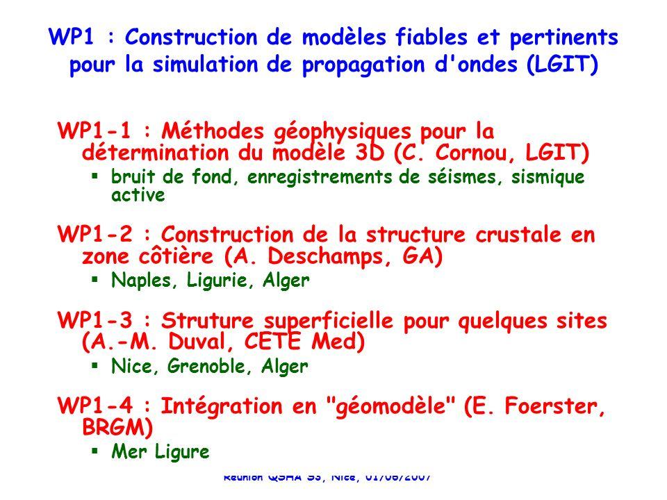 Réunion QSHA S3, Nice, 01/06/2007 WP1 : Construction de modèles fiables et pertinents pour la simulation de propagation d ondes (LGIT) WP1-1 : Méthodes géophysiques pour la détermination du modèle 3D (C.