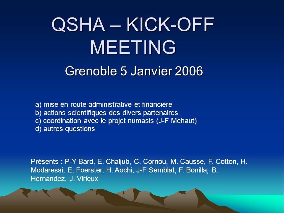 QSHA – KICK-OFF MEETING Grenoble 5 Janvier 2006 a) mise en route administrative et financière b) actions scientifiques des divers partenaires c) coordination avec le projet numasis (J-F Mehaut) d) autres questions Présents : P-Y Bard, E.