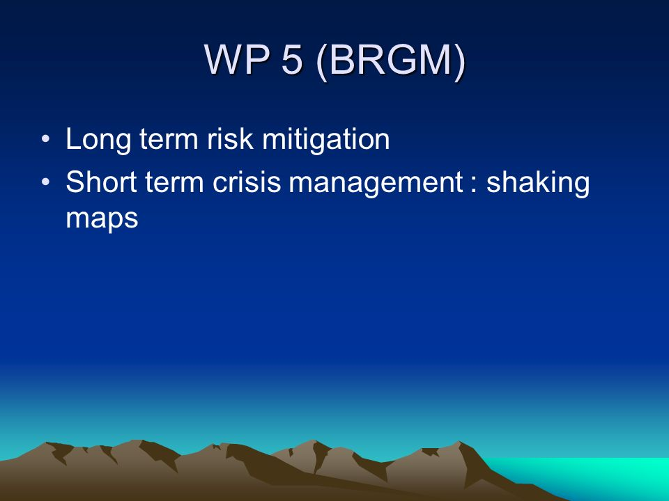 WP 5 (BRGM) Long term risk mitigation Short term crisis management : shaking maps