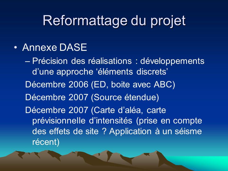 Reformattage du projet Annexe DASE –Précision des réalisations : développements dune approche éléments discrets Décembre 2006 (ED, boite avec ABC) Décembre 2007 (Source étendue) Décembre 2007 (Carte daléa, carte prévisionnelle dintensités (prise en compte des effets de site .