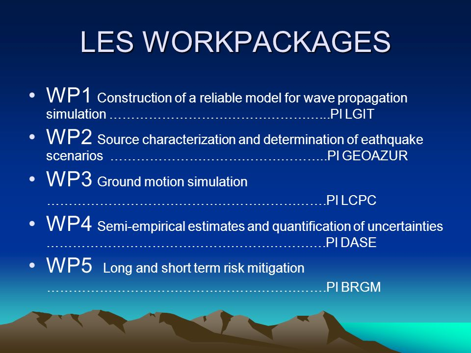 LES WORKPACKAGES WP1 Construction of a reliable model for wave propagation simulation …………………………………………...PI LGIT WP2 Source characterization and deter
