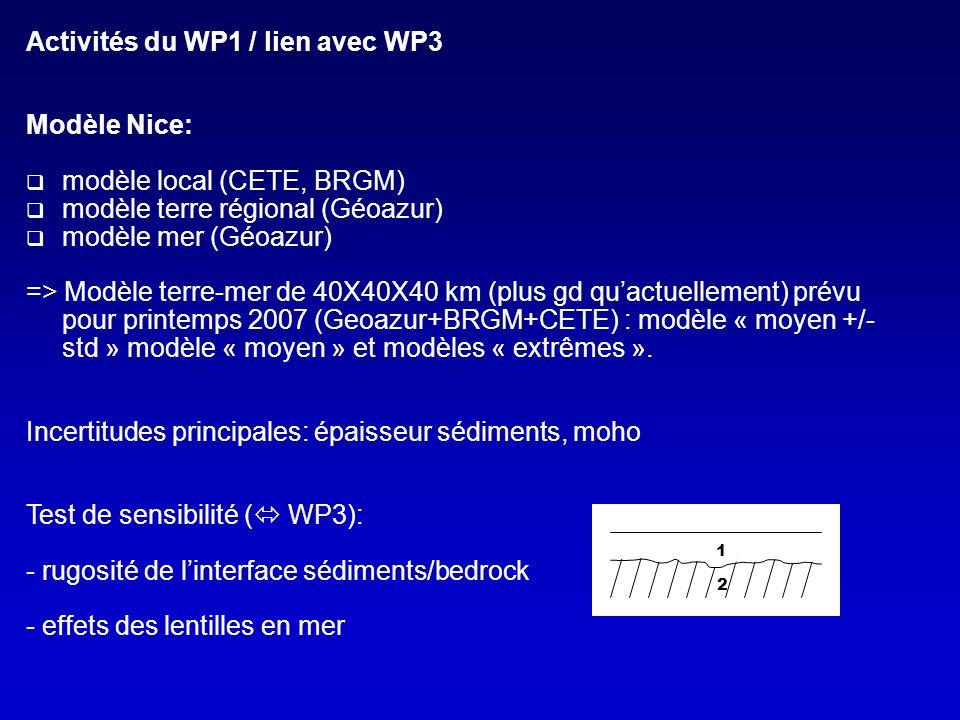Activités du WP1 / lien avec WP3 Modèle Nice: modèle local (CETE, BRGM) modèle terre régional (Géoazur) modèle mer (Géoazur) => Modèle terre-mer de 40X40X40 km (plus gd quactuellement) prévu pour printemps 2007 (Geoazur+BRGM+CETE) : modèle « moyen +/- std » modèle « moyen » et modèles « extrêmes ».