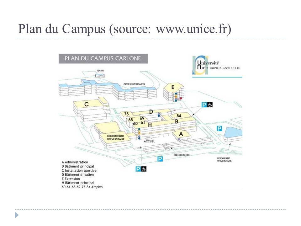 Plan du Campus (source: www.unice.fr)