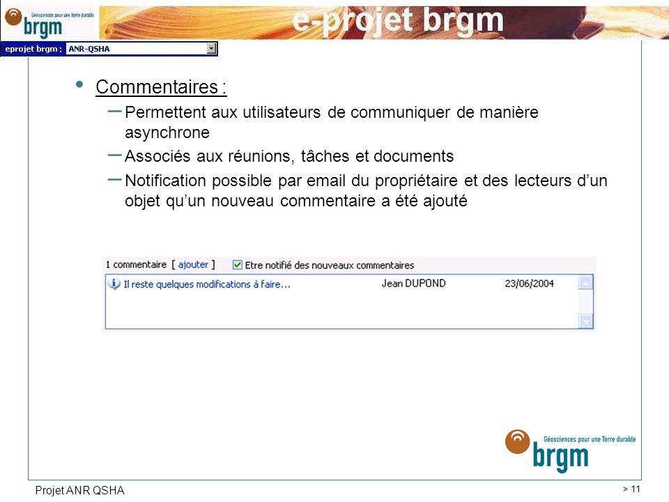 Projet ANR QSHA > 11 Commentaires : – Permettent aux utilisateurs de communiquer de manière asynchrone – Associés aux réunions, tâches et documents –
