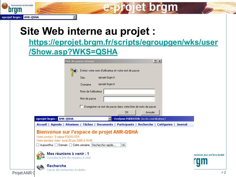 Projet ANR QSHA > 2 Site Web interne au projet : https://eprojet.brgm.fr/scripts/egroupgen/wks/user /Show.asp?WKS=QSHA https://eprojet.brgm.fr/scripts