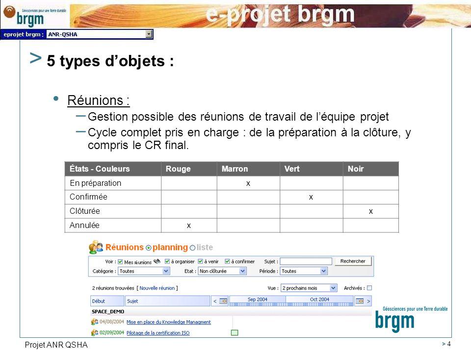 Projet ANR QSHA > 4 > 5 types dobjets : Réunions : – Gestion possible des réunions de travail de léquipe projet – Cycle complet pris en charge : de la