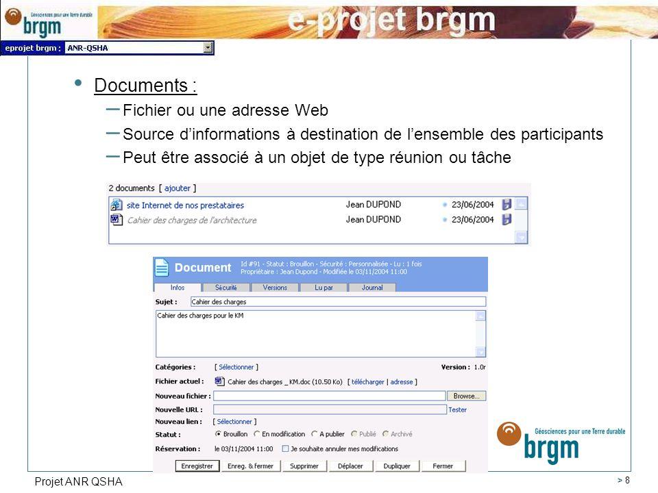 Projet ANR QSHA > 8 Documents : – Fichier ou une adresse Web – Source dinformations à destination de lensemble des participants – Peut être associé à un objet de type réunion ou tâche
