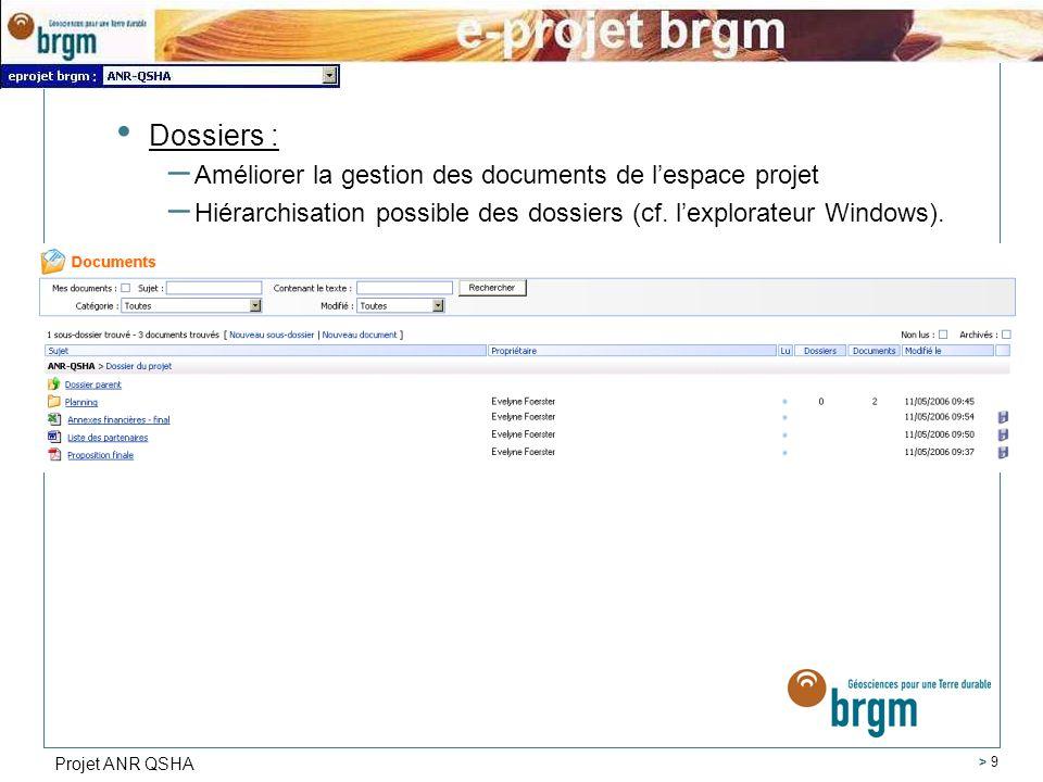 Projet ANR QSHA > 9 Dossiers : – Améliorer la gestion des documents de lespace projet – Hiérarchisation possible des dossiers (cf.