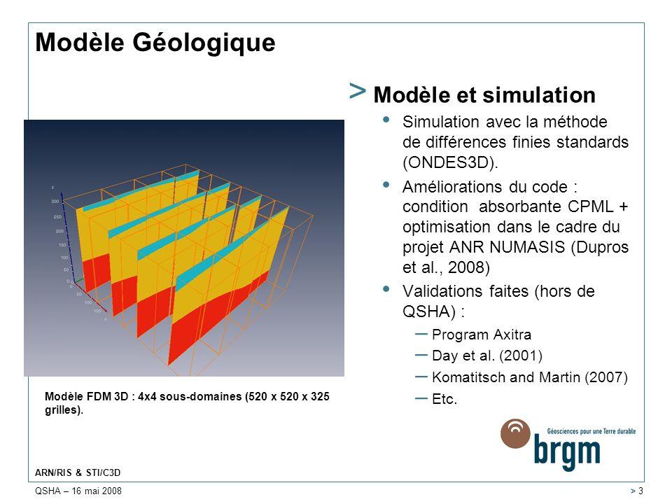 QSHA – 16 mai 2008 ARN/RIS & STI/C3D > 3 Modèle Géologique > Modèle et simulation Simulation avec la méthode de différences finies standards (ONDES3D)
