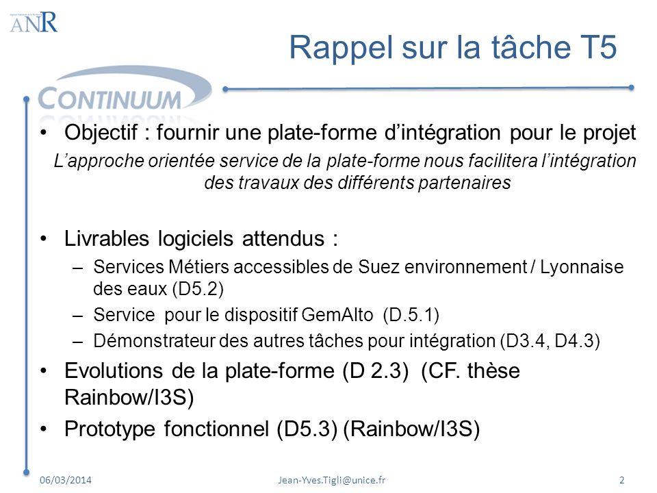 Rappel sur la tâche T5 Objectif : fournir une plate-forme dintégration pour le projet Lapproche orientée service de la plate-forme nous facilitera lin