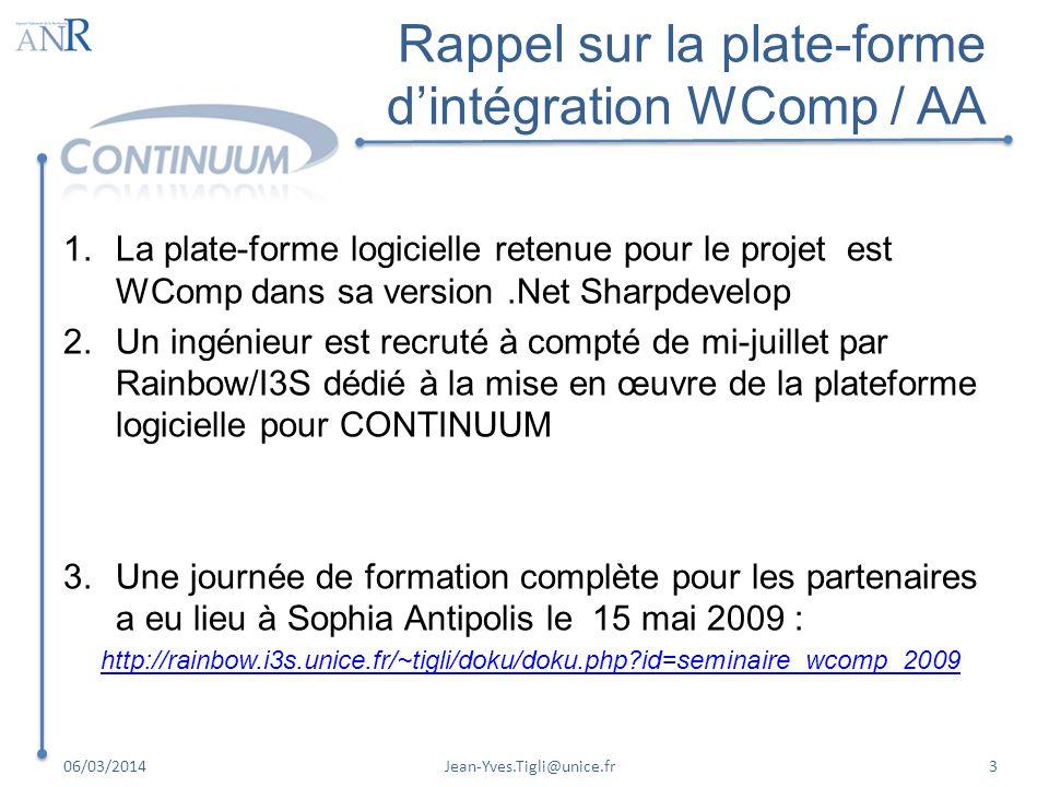 Rappel sur la plate-forme dintégration WComp / AA 1.La plate-forme logicielle retenue pour le projet est WComp dans sa version.Net Sharpdevelop 2.Un i