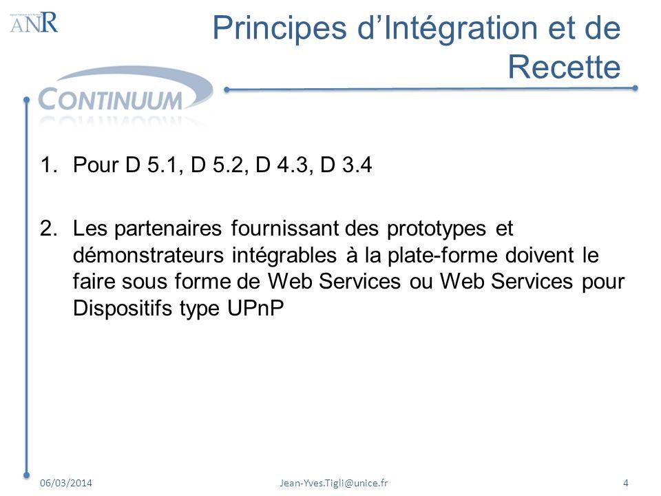 Principes dIntégration et de Recette 1.Pour D 5.1, D 5.2, D 4.3, D 3.4 2.Les partenaires fournissant des prototypes et démonstrateurs intégrables à la