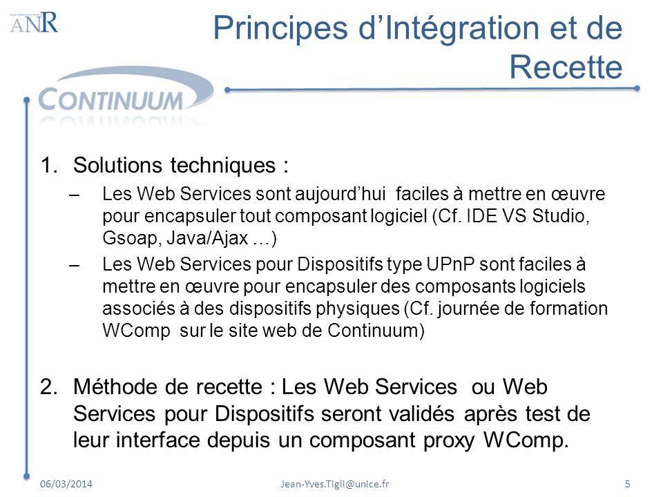 Principes dIntégration et de Recette 1.Solutions techniques : –Les Web Services sont aujourdhui faciles à mettre en œuvre pour encapsuler tout composa