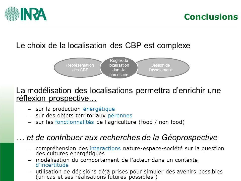 Conclusions Le choix de la localisation des CBP est complexe La modélisation des localisations permettra denrichir une réflexion prospective… – sur la production énergétique – sur des objets territoriaux pérennes – sur les fonctionnalités de lagriculture (food / non food) … et de contribuer aux recherches de la Géoprospective – compréhension des interactions nature-espace-société sur la question des cultures énergétiques – modélisation du comportement de lacteur dans un contexte dincertitude – utilisation de décisions déjà prises pour simuler des avenirs possibles (un cas et ses réalisations futures possibles ) Représentation des CBP Gestion de lassolement Règles de localisation dans le parcellaire