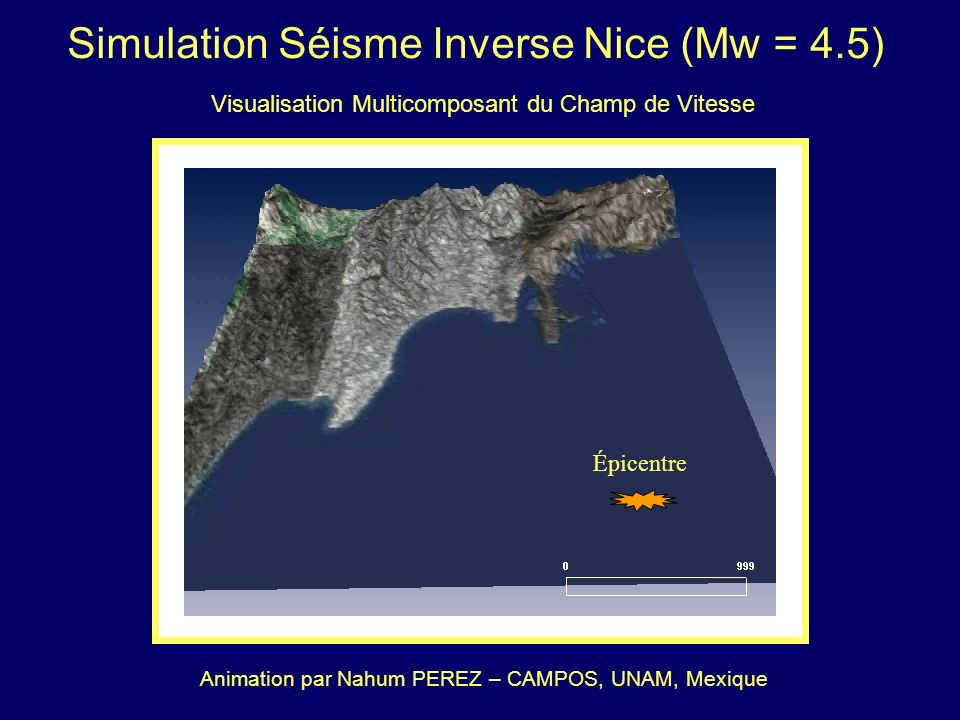 Topographie et Bathymétrie Simulation Séisme Inverse Nice (Mw = 4.5) Mécanisme au Foyer : = 243 o, = 41 o et = 74 o Demi-espace infini élastique : cro